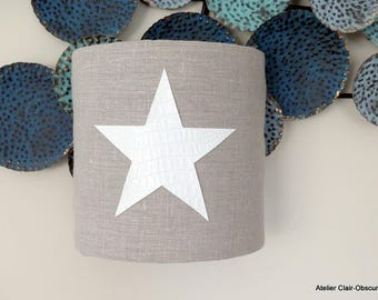 Wall Sconce GM in natural linen with star