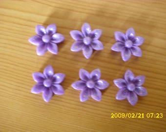 set of 6 cabochons 17 X 6 mm purple glitter