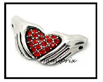 X1connecteur silver heart/hands red rhinestones