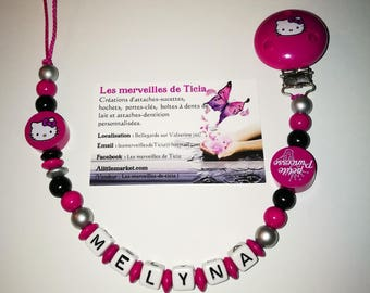 """Pacifier clip personalized """"Hello kitty"""""""