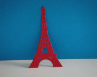 Cut red Eiffel Tower for scrapbooking and card
