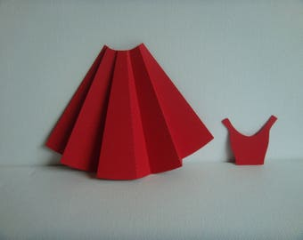 Set skirt and its high neckline for creation (sold without flower) Red drawing paper