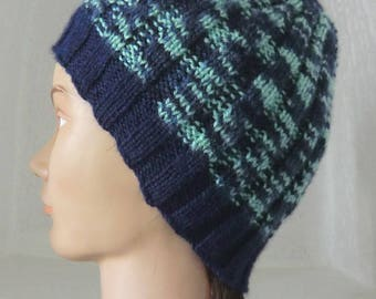 Wool Cap - color Navy Blue and green - man or teenager - fancy hand knitted