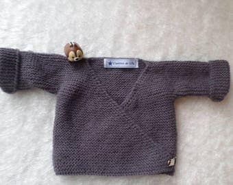 Cardigan hand knitted baby wrap