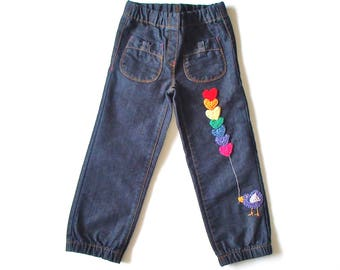 little girl jeans with crochet application. birdie
