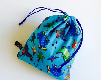 Small tote - Bag in blue dinosaur fabric
