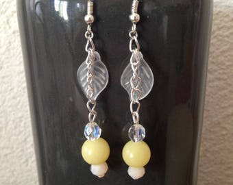 Party or spring wedding with coral beads and glass for pierced earrings