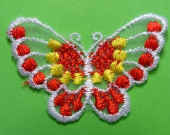 LACE APPLIQUE: Butterfly red/yellow/white 60 * 40mm