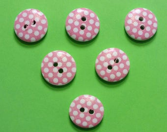 SET of 6 wood buttons: round fancy 15mm (19) pattern