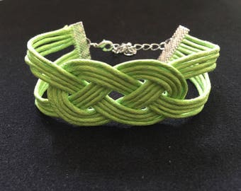 Wax cotton mode sailor knot bracelet neon green