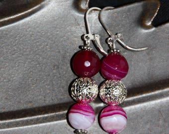 Raspberry earrings trio of agate gemstone beads