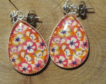 Dangle Silver earrings - pink, yellow and orange flowers drop Cabochon