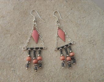 Pink ethnic diamond studded earrings
