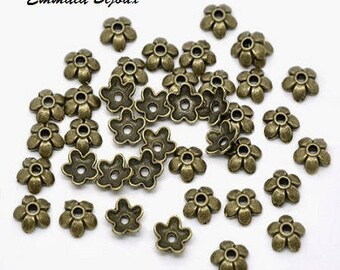 20 bead caps in antique bronze 6 mm