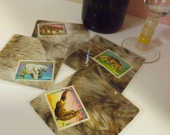 Dessous de verre plastifié - création originale - nouvelle collection - '' Les Animaux Sauvages '' par 4, support en bois offert