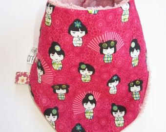 Bandana bib pattern kokeshi baby bib