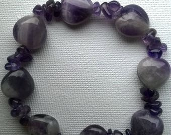 Hearts and Amethyst chips bracelet