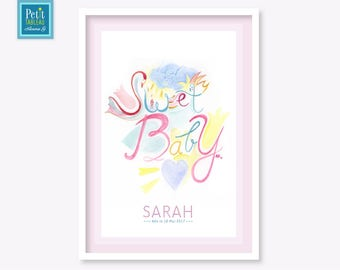 SWEET BABY - Picture personalized - gift - decor nursery kids baby