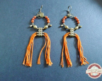 Earrings Creole ethnic roaming bronze brick orange seeds
