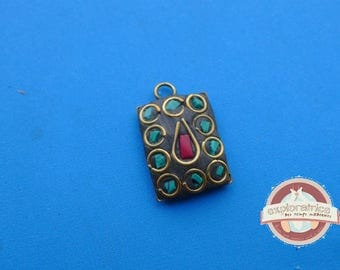 rectangle pendant from tibet nepal bronze and stone turquoise and red to 14x21mm
