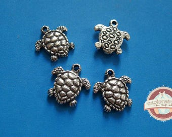 4 turtle charms silver 17mm silver