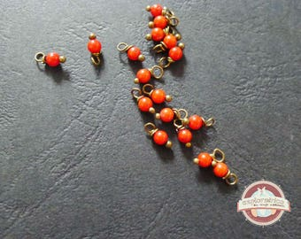 10 pearls round red coral gemstones 3x8mm charms