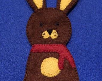 felt finger puppet animals Brown rabbit