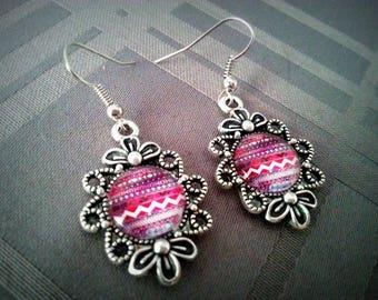 Earrings dangle, 12mm, purple pink Aztec glass cabochons