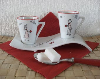 Espresso duo wave Valentine's day, fine bone China custom original for lovers.