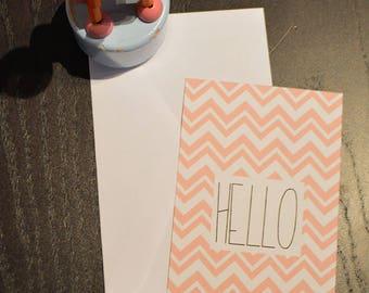 Pink Hello card and Zig Zag