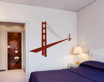 Golden gate wall sticker, golden gate wall decal decor, gate wall sticker removable vinyl architecture gate wall art [CT003]