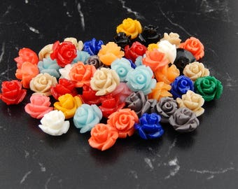 10 synthetic coral flowers color 11mmX11X8 hole 0, 5 mm