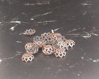 10 antique copper flower bead caps