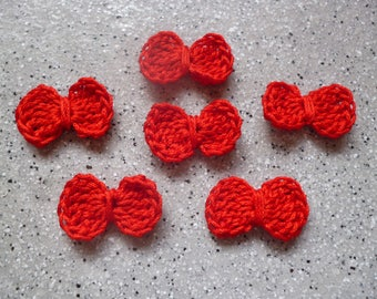 6 bows-crocheted red cotton handmade