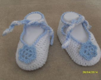 Blue and white crochet booties