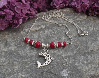 Red coral beads and charm necklace