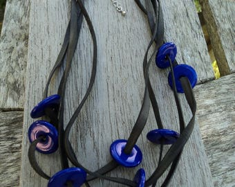Bicycle inner and blue beads necklace
