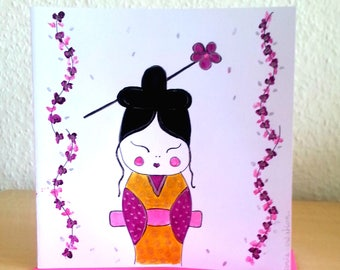 Chinese doll card - card birthday card - hand painted