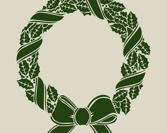 Holly wreath. Christmas decoration. Stencil adhesive vinyl (ref 159)