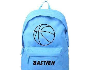 bag has blue basketball personalized with name