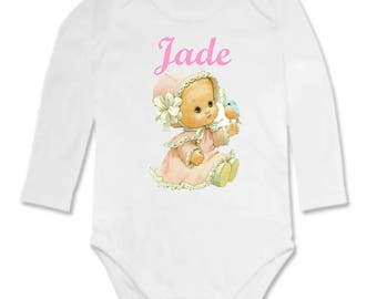Bodysuit baby girl vintage personalized with name