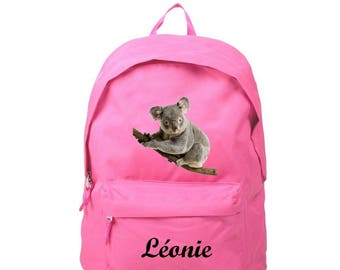 Backpack pink Koala personalized with name