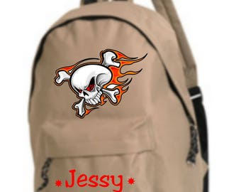 bag has beige skull personalized with name
