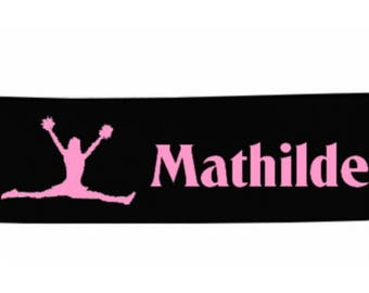 Black girl cheerleader personalized with name banner