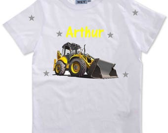 T-shirt boy backhoe personalized with name
