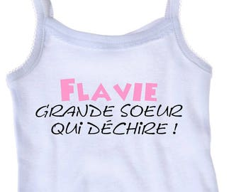 Tank top white girl big sister that... personalized with name