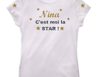 Girl t-shirt it's me star personalized with name