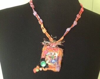 "Necklace textile art ""romance a Versailles"""