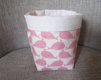 basket, patterns, whales, pink and white