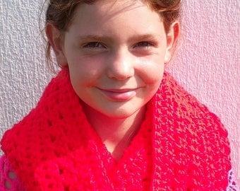 "collar snood ""Stabilo"" crochet wool soft red neon"
